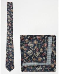 Corbata de Flores Azul Marino de Asos