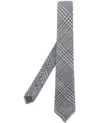Corbata de lana a cuadros gris de Brunello Cucinelli