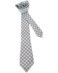 Corbata de lana de cuadro vichy gris de Kiton