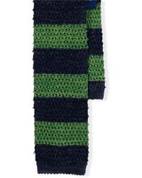 Corbata de lana de rayas horizontales en azul marino y verde