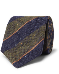 Corbata de lana de rayas horizontales en azul marino y verde de Canali