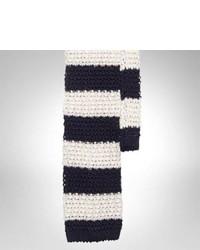 Corbata de lana de rayas horizontales en blanco y azul marino