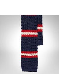 Corbata de lana de rayas horizontales en blanco y rojo y azul marino