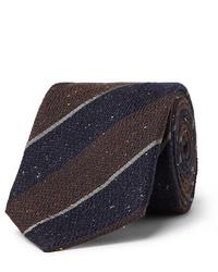 Corbata de lana de rayas horizontales en marrón oscuro de Canali