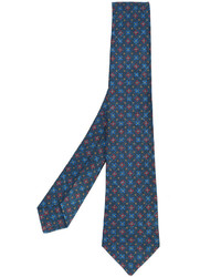 Corbata de lana estampada azul marino de Kiton