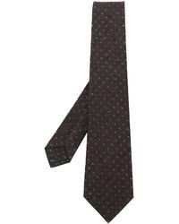 Corbata de lana estampada en marrón oscuro de Kiton