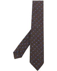 Corbata de lana estampada marrón de Kiton