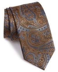 Corbata de paisley en marrón oscuro