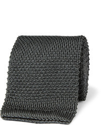 Corbata de punto en gris oscuro de Brioni