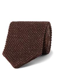Corbata de punto en marrón oscuro de Caruso