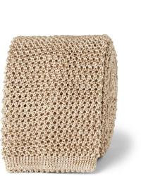 Corbata de punto marrón claro