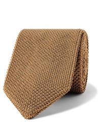 Corbata de punto marrón claro de Caruso
