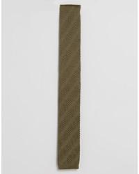 Corbata de punto verde oliva de Asos