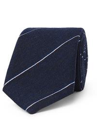 Corbata de rayas horizontales azul marino de Dunhill