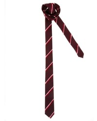 Corbata de rayas horizontales burdeos de Asos