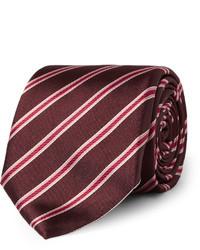 Corbata de rayas horizontales burdeos de Canali