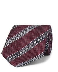 Corbata de rayas horizontales burdeos de Tom Ford