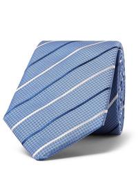 Corbata de rayas horizontales celeste de Hugo Boss