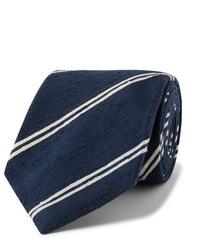 Corbata de rayas horizontales en azul marino y blanco