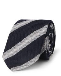 Corbata de rayas horizontales en azul marino y blanco de Brioni