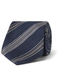 Corbata de rayas horizontales en azul marino y blanco de Tom Ford