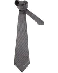 Corbata de rayas horizontales en gris oscuro de Giorgio Armani
