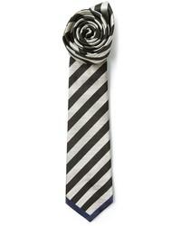 Corbata de rayas horizontales en negro y blanco de Valentino