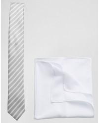 Corbata de rayas horizontales gris de Asos