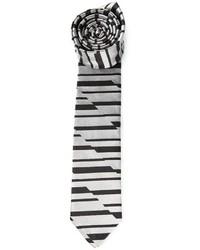 Corbata de rayas horizontales gris de Emporio Armani