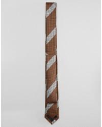 Corbata de rayas horizontales marrón de Asos