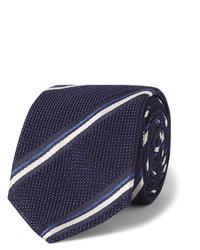 Corbata de rayas verticales en azul marino y blanco de Canali
