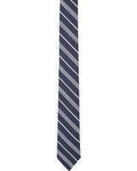 Corbata de rayas verticales en azul marino y blanco de Thom Browne