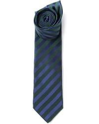 Corbata de rayas verticales en azul marino y verde de Lanvin