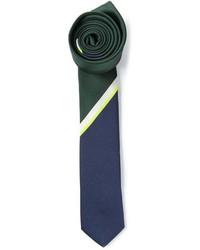 Corbata de rayas verticales en azul marino y verde de Valentino