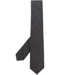 Corbata de rayas verticales en gris oscuro de Barba