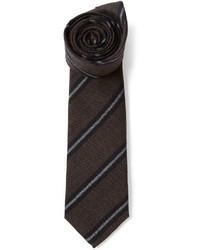 Corbata de rayas verticales en marrón oscuro de Brunello Cucinelli