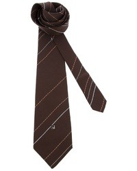 Corbata de rayas verticales en marrón oscuro de Pierre Cardin