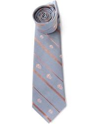 Corbata de rayas verticales gris de Alexander McQueen