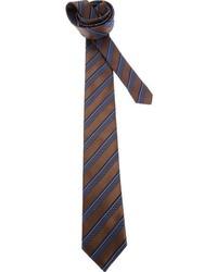 Corbata de Rayas Verticales Marrón Oscuro de Ermenegildo Zegna