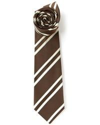 Corbata de Rayas Verticales Marrón Oscuro de Kiton