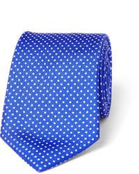 Corbata de seda a lunares azul
