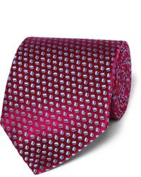 Corbata de seda a lunares burdeos de Charvet