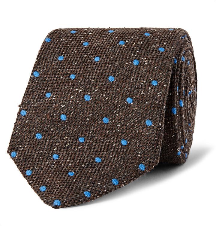 Corbata de seda a lunares en marrón oscuro