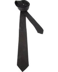 Corbata de seda a lunares en negro y blanco