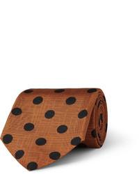 Corbata de seda a lunares marrón