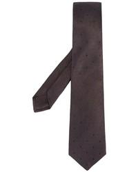 Corbata de seda a lunares marrón de Kiton