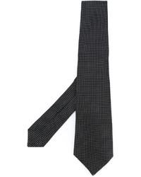 Corbata de seda a lunares negra de Kiton