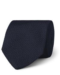 Corbata de seda azul marino de Drakes