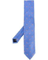 Corbata de seda bordada azul de fe-fe