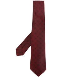 Corbata de seda bordada burdeos de Kiton